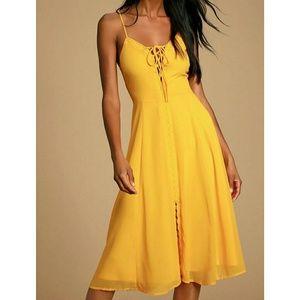 Lulus New golden yellow Lace up Midi